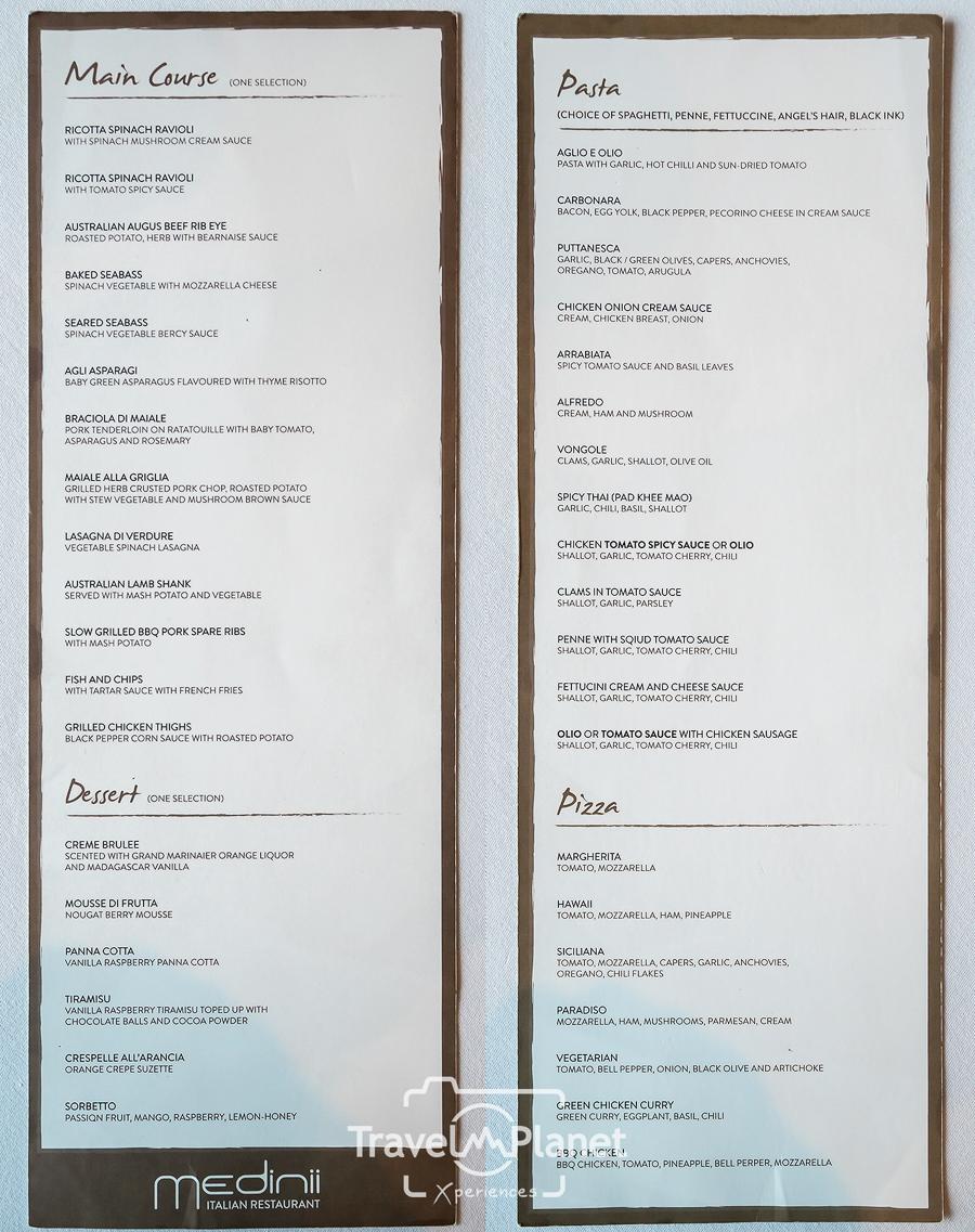 Medinii Italian Restaurant - Menu