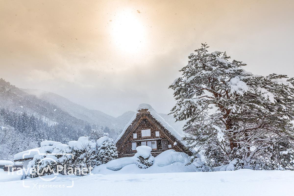 Shirakawago with Sun Snow